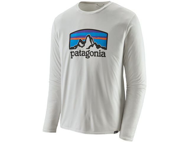 Patagonia Cap Cool Daily Graphic Longsleeve Shirt Heren, fitz roy horizons/white
